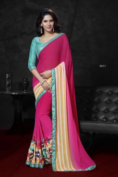 #party #saree @  http://zohraa.com/pink-and-yellow-faux-georgette-saree-81155.html #partysarees #celebrity #zohraa #onlineshop #womensfashion #womenswear #bollywood #look #diva #party #shopping #online #beautiful #beauty #glam #shoppingonline #styles #stylish #model #fashionista #women #lifestyle #fashion #original #products #saynotoreplicas
