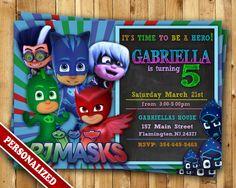 PJ máscaras máscaras de PJ invitación cumpleaños partido - PJ máscaras máscara…