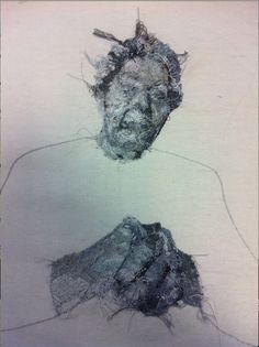 The other side - I think this looks even cooler then the right side - VCE Art embroidered portrait of my grandmother