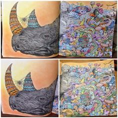 Rhinoceros  Kerby Rosanes's Animorphia Done with Muji and Faber Castell color pencils/Watercolour pencils