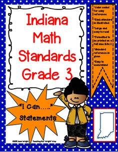 "Indiana 3rd Grade Math Standards Posters from Teaching the ""Wright"" Way on TeachersNotebook.com -  (40 pages)  - These posters are created for Indiana Standards for 3rd grade math. They are written in the ""I can...."" format. Written on full size pages, they may be used to post in the classroom."