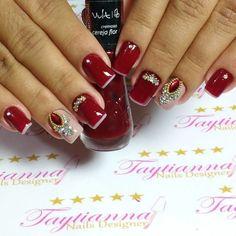 Unhas Vermelhas com Joias Nails, Manicures, Nail Designs, Nail Art, Diana, Jewelry, Makeup, Nail Art Designs, Easy Nails