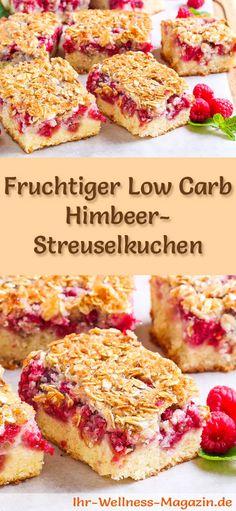 Rezept für einen Low Carb Himbeer-Streuselkuchen - kohlenhydratarm, kalorienreduziert, ohne Zucker und Getreidemehl
