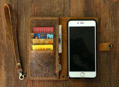 Women embossing leather Wristlet iPhone wallet case iPhone 6 mobile wallet / leather iPhone 6 plus wallet case cover Iphone 6, Iphone Wallet Case, Iphone Cases, Sewing Leather, Leather Wallet, Distressed Leather, Leather Working, 6s Plus, Wallets For Women