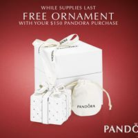 Starting today get a Free Limited Edition Pandora Ornament with your $150 Pandora Jewelry Purchase! Only available until supplies last!! #orangeville #pearhome #giftwithpurchase #pandora
