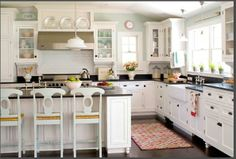 orb pulls, white cabinets