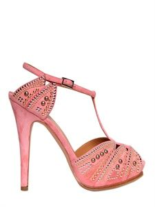 LERRE - 130MM STUDDED SUEDE T-BAR SANDALS - LUISAVIAROMA - LUXURY SHOPPING WORLDWIDE SHIPPING - FLORENCE