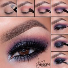 Make up Smokey Eyes with these tips and instructions Mit diesen Tipps und Anleitungen schminken Sie Smokey Eyes perfekt! smokey eyes make up with 4 colors instruction pictures up - Smoky Eye Makeup Tutorial, Smokey Eye Makeup, Purple Eyeshadow, Matte Eyeshadow, Eyeshadows, Eyeshadow Makeup, Eyeshadow Tips, Drugstore Makeup, Eyeshadow Palette