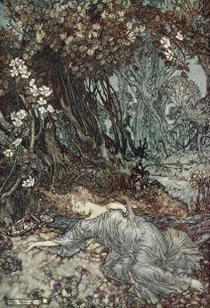 "Titania lying asleep (frontispiece). ""A Midsummer-Night's Dream"" (1908) illustrated by Arthur Rackham."
