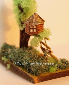 Miniature size  My Micro house - miniature tree house - house for dollhouse ..