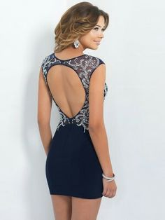 Navy cocktail dress with lace detail (back)