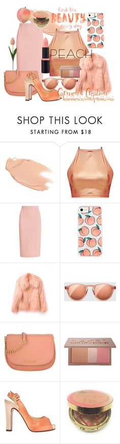 """""""Journi's """"Peachy Peach Going Outfit"""""""" by carmen-ireland ❤ liked on Polyvore featuring Too Faced Cosmetics, Roland Mouret, WithChic, Chimi, Urban Decay, Christian Louboutin and peachlipstick"""