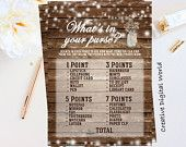 Bridal Shower What's In Your Purse Game Rustic  Card Printable Bride-to-Be Wood Baby's Breath String Lights Digital Party Instant Download