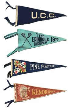 Member of the Fehsenfeld Extended Family -- vintage pennants on sticks Nautical Logo, Nautical Design, Pennant Banners, Bunting, Banner Design, Flag Design, Vintage Patches, Vintage Labels, Retro