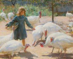Charles Courtney Curran - White Turkeys