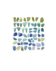 Sea Glass original Watercolor painting Beach Finds teal blue green mossy turquoise emerald  modern home decor 9 x 12.  via Etsy.