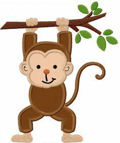 Monkey With Branch Applique Machine by LovelyStitchesDesign