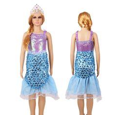 C$ 10.16 - 11.43 / pièce   Pas cher 2016 New Kids Girl Costumes The Little Mermaid Ariel Princess Halloween Cosplay  Costume Kids Perform Clothes Fantasias Vestidos, Acheter  Habits de qualité directement des fournisseurs de Chine:                  Note:Sortie d'usine, il pe
