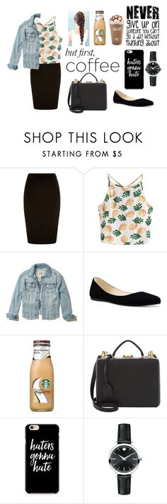 """""""but first.... coffee"""" by missmodest17 ❤ liked on Polyvore featuring WithChic, Hollister Co., Nine West, Mark Cross, Caso and Movado"""