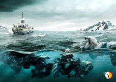 An oil spill disaster in the Arctic is inevitable if oil companies are allowed to drill. Sign now to tell Secretary Kerry to end Arctic drilling. Thanks to artist Martín De Pasquale for creating this powerful image.