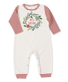 Loving this Ivory & Red 'My First Christmas' Playsuit - Infant on #zulily! #zulilyfinds