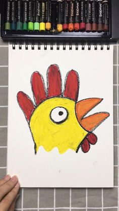 Easy drawing you'll want to try right away - drawing a rooster with your hand, kinderen, basisschool, teken een haan met de o - Animal Crafts For Kids, Paper Crafts For Kids, Toddler Crafts, Preschool Crafts, Art Drawings Sketches Simple, Easy Drawings For Kids, Drawing For Kids, Drawing Classes For Kids, Easy Animal Drawings