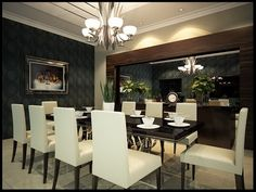 Large Dining Room Ideas with Glass Table and White Chairs