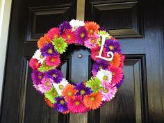 styrofoam wreath, spring flowers, monogram