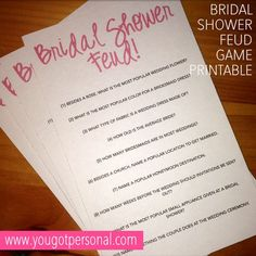Bridal Shower Feud Game Printable