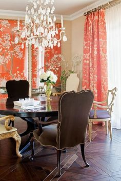 chocolate and bright, coral/red patterned curtains