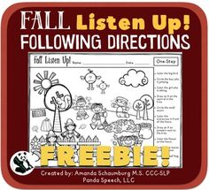 Fall Listen Up! Following Directions FREEBIE! Repinned by SOS Inc. Resources pinterest.com/sostherapy/.