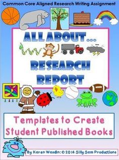 ALL ABOUT... Research Report Writing Templates provides all the pages needed for students to complete their own ALL ABOUT BOOKS!Common Core Aligned to provide opportunities for informative/explanatory writing, as well as many Speaking and Listening experiences.