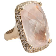 Joubi Promenade Rose Quartz Ring (£4,000) ❤ liked on Polyvore featuring jewelry, rings, accessories, anel, schmuck, rose quartz jewelry, rose quartz ring, rose jewelry and rose ring