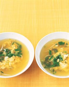 """Egg Drop Soup -30oz chick broth -3c water -4t soy sauce -2t grated ginger -8oz snow peas,1/2"""" pieces -1 1/2c bean sprouts -3lightly beaten eggs -rice vinegar, sesame oil, scallions (garnish) -Bring broth, water, soy sauce, ginger to boil. Add peas,sprouts. Simmer til veg tender,2-3min. While stirring in 1 direction, pour eggs in steady stream into soup(eggs will feather). Remove from heat. Season w rice vinegar, oil, scallions"""
