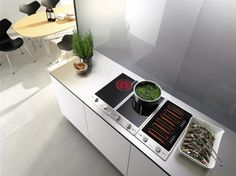 Miele cooktop Options include induction, barbecue/grill, wok, salamander, gas and tepan yaki