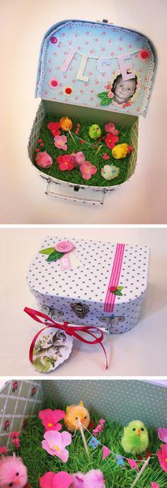 Kadoootje voor nichtje Ilse! #diy #suitcase #spring
