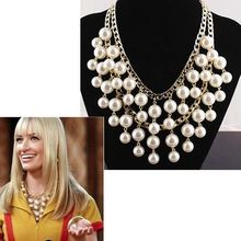 Free shipping 2014 new jewelry european fashion punk female noble double layer pearl tassel vintage royal short necklace women(China (Mainland))