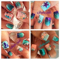 More mermaid nails I've done in the past! Thought I'd share since the ones I've been doing have been so popular! #lovemermaidnails#stephs#nail