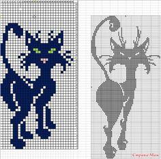 """Топ """"Черная кошка"""" - Вязание - Страна Мам Cat Cross Stitches, Counted Cross Stitch Patterns, Cross Stitch Charts, Cross Stitching, Embroidery Stitches, Embroidery Patterns, Knitting Charts, Knitting Patterns, Crochet Patterns"""