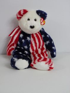 65eda3b9a51 Ty Beanie Baby Buddy SPANGLE 4th of July Patriotic Bear 14