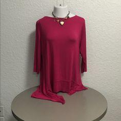 Cupio Dark Pink Uneven Hem Tunic Top Size -1X SUPER CUTE! Brand New, tags attached- Cupio Dark Pink Uneven Hem Tunic Top Size -1X- Retails $45.00 Cupio Tops Tunics