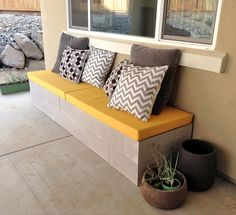 13 Awesome Outdoor Bench Projects, Ideas Tutorials! Including this diy cinder block bench created by 'hello daly'.