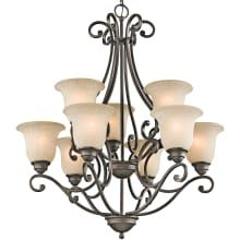"""Camerena 9 Light 30"""" Wide 2-Tier Chandelier with Scavo Glass Shades"""