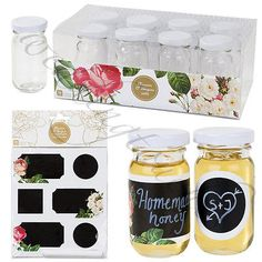 #Blossom & brogues mini glass jars chalk #paper #stickers tea party accessories,  View more on the LINK: http://www.zeppy.io/product/gb/2/201337627843/