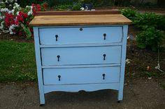 Primitive & Proper: Little Boy Blue; blue and wood topped cottage dresser