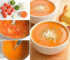 This tomato basil soup is one of my all time FAVOURITE soup recipes! It's easy to make and always tastes amazing! Serve it hot with fresh garlic bread and Mmmm. It's the perfect soup for a summer meal! New Recipes, Soup Recipes, Vegetarian Recipes, Cooking Recipes, Favorite Recipes, Healthy Recipes, The Best Tomato Basil Soup Recipe, Tomato Soup, Soup And Salad