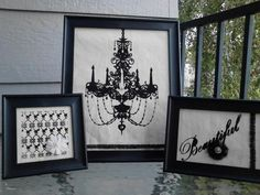 I bought a place mat-sized piece of fabric with these decorations on them, cut it all up and framed them.