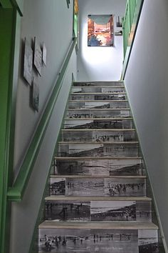 Dazzling DIYs: Taking time to customize something as simple as a staircase can create a huge impact. Designer Brian Paquette pulled off this easy decopauge DIY by finding photos of 1920s clamdiggers from the local historical society, blowing them up, and adhering them to the staircase risers.