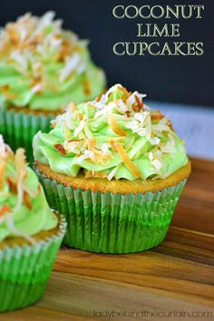 These Coconut Lime Cupcakes are moist with tons of coconut and lime.  I love the addition of the toasted coconut to the top of the creamy Cream Cheese Lime