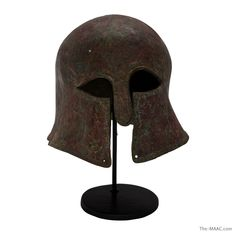 "Rare ancient Corinthian bronze helmet, Greece, 6/7th century BC.  Height: 12""  http://www.the-maac.com/palmyra-heritage?id=67=385=844&?_vsrefdom=pinterest"